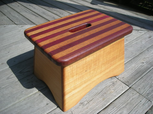 Spanish cedar and purple heart step stool