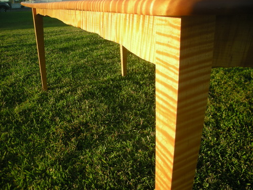 Tiger maple dining table closeup