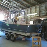 Harrison Boatworks 28' Center Console in shop