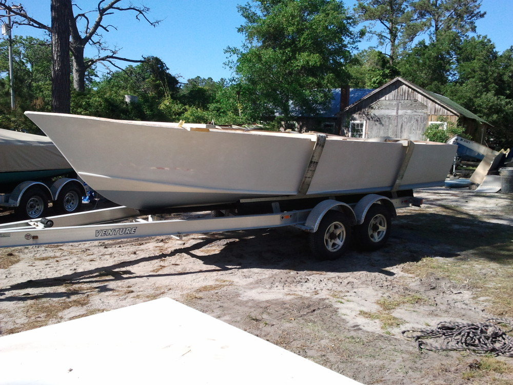 22' center console on trailer for first time