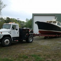 At Harrison Boatworks, this vessel has undergone extensive work, including a total bottom job, jet-drive maintenance, varnish work and a number of other maintenance services, as well as multiple deliveries to different destinations for the owner.
