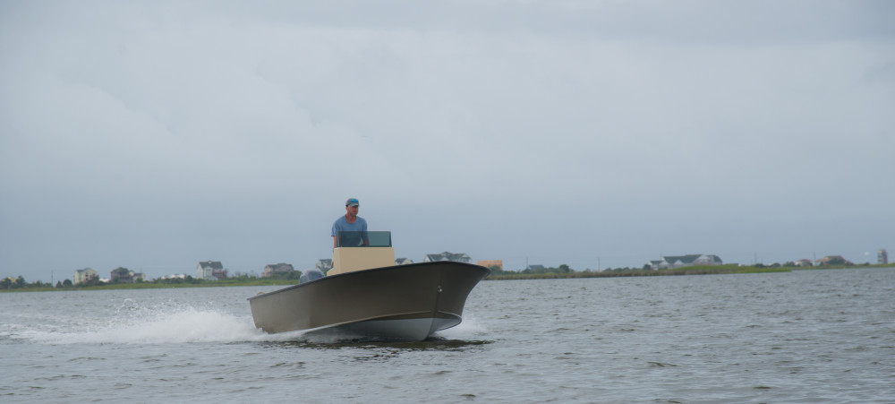 Harrison Boatworks 19' Tunnel Skiff Entry and Spray Rails