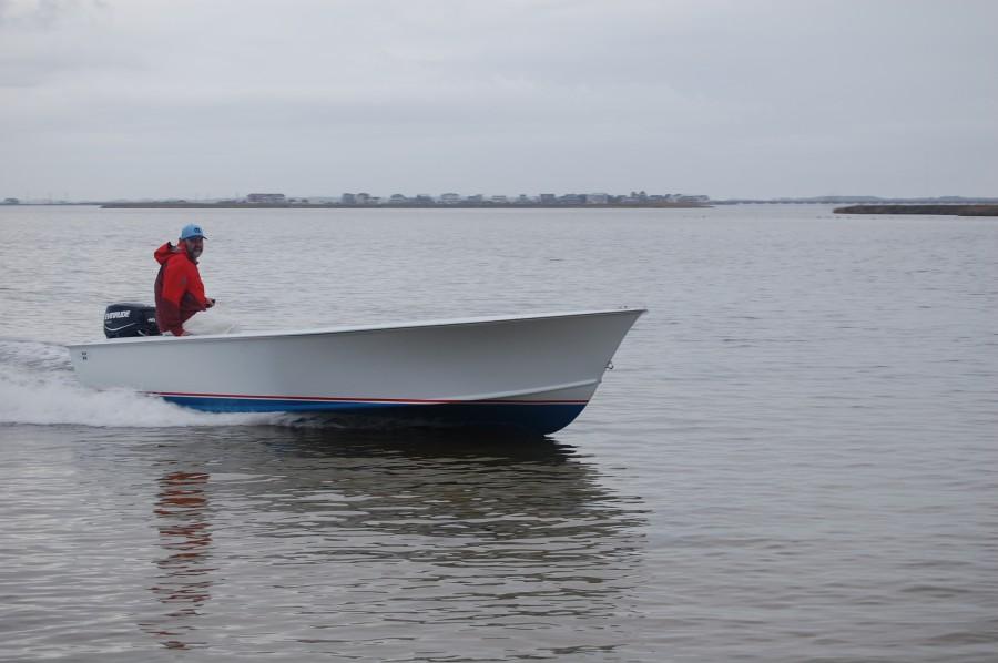 19' skiff with tiller